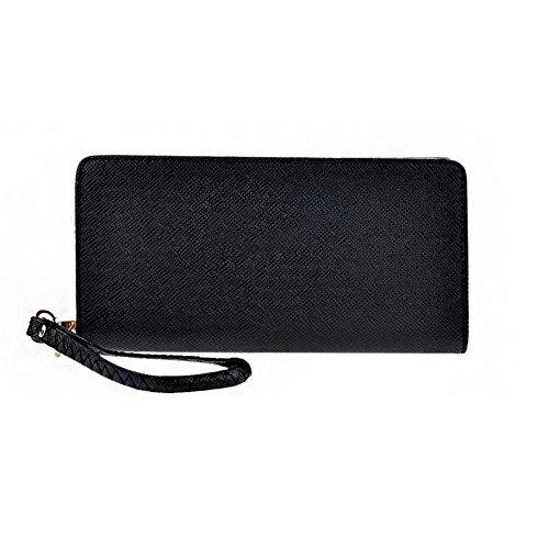 D9Q Damen Kunstleder Damen Brieftasche Kupplung lange Zip um Geldbörse Handtasche (Kupplung Brieftasche)
