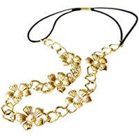 Junlinto Mujeres Chica Metal Flower Head Chain Wrap Faux Pearl Elástico Hollow Hairband Retro-Gold