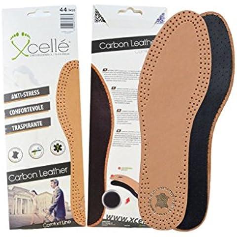 Solette scarpe carboni attivi e cuoio traspiranti antiodore antisudore taglia