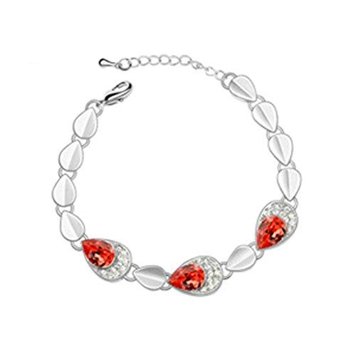 Aooaz Plaqué Or Blanc Femmes Bracelet,Bracelet Lien Poignet CZ Cristal,Ovale Rouge Classique