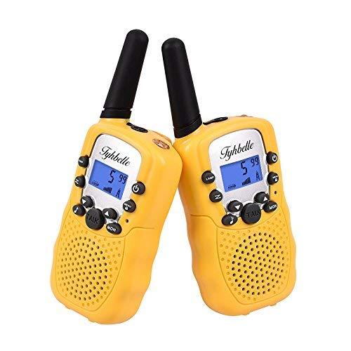 2 x Walkie Talkie Tyhbelle Funkgerät 8 Kanäle PMR446 lizenzfrei Walky Talky für Kinder Geschenk mit LCD-Display Lampe VOX-Funktion (2er Pack-Gelb) -