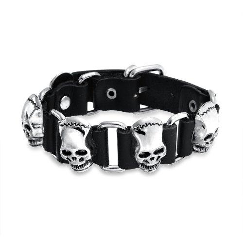 Bling Jewelry Calavera Cuero Negro Auténtico Cabezas Remache con Clavos Acero Pulsera Puño para Hombres Goth Moteros Hebilla Cinturón