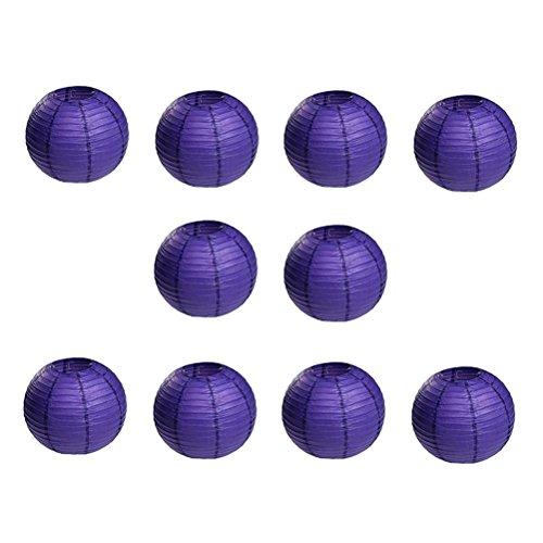 OUNONA 10pcs Weihnachten Papierlaternen Runde Laternen mit Ribbing (Dark Purple)