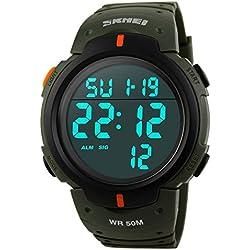 FunkyTop Militär Herren Sport Simple Design Digital LED-Bildschirm große Zahlen wasserdicht Casual Watch - Army Green