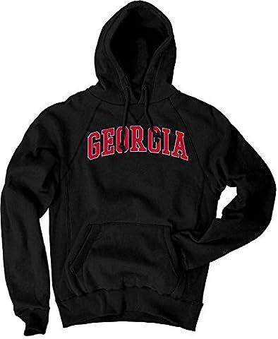 NCAA Georgia Bulldogs Men's Sanded Fleece Pullover Hoodie, Vintage/Faded Black, X-Large