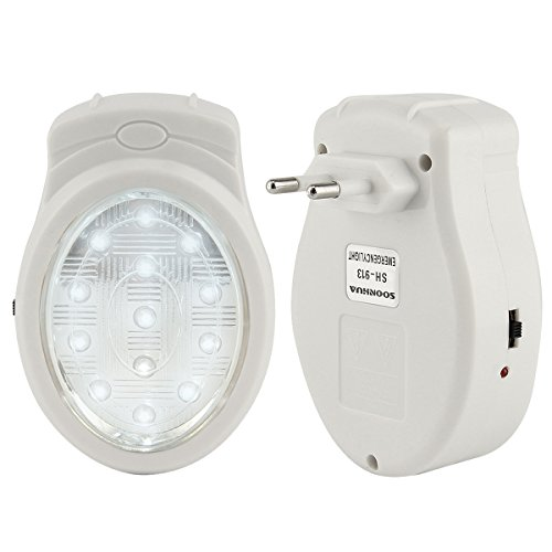 LED Notbeleuchtung, SOONHUA Hohe Helligkeit Notlicht Wiederaufladbare Notfall Automatische Stromausfall Ausfall 13 LED-Lampe Lampenstecker
