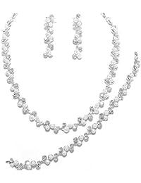 Schmuckanthony Best Seller Hochzeit Brautschmuck Schmuckset Kette Ohrringe Armband Perlen weiß Kristall klar Transparent