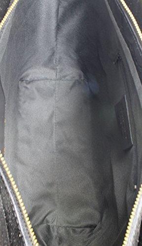 CTM Borsa Classica da Donna, Elegante alla Moda, Stile Italiano, 35x29x15cm, Vera Pelle 100% Made in Italy Nero