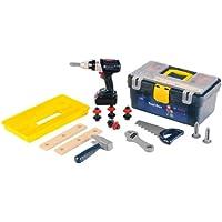 Theo Klein 8259 - Bosch Werkzeugbox mit Akkuschrauber, profiline blau, Spielzeug