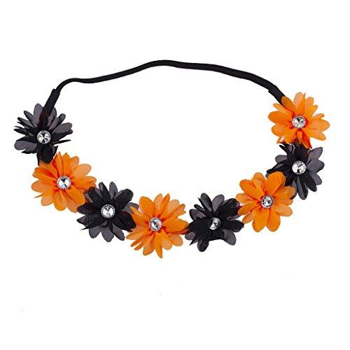 LUX Zubehör Schwarz N orange Strass Halloween Chiffon Blumen Krone
