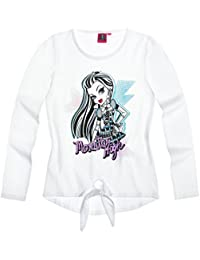 Tee shirt noeud manches longues fille Monster High + Frankie Stein Blanc 10ans