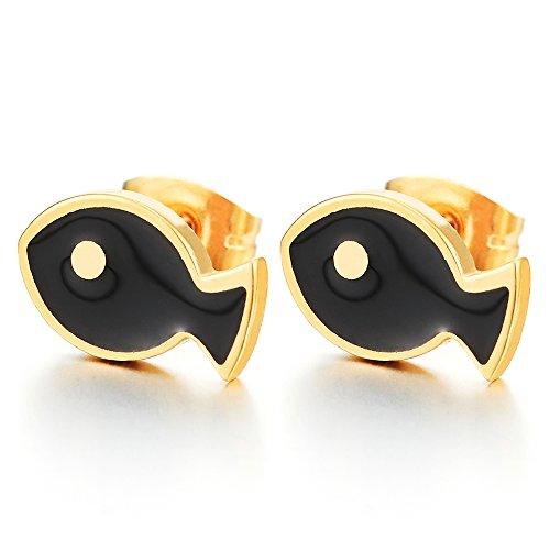 Paar Goldfarben Fisch Ohrstecker mit Schwarzer Emaille, Edelstahl Damen Gestüt Ohrringe, Ohrschmuck