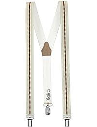 Xeira® Bretelles de haute qualité avec 3 Clips fort de 35mm dans 15 Design - Rayures