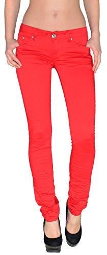 ESRA Damen Jeans Hose Damen Jeanshose Skinny Hüftjeans Hüfthose rot, blau, grün Z84