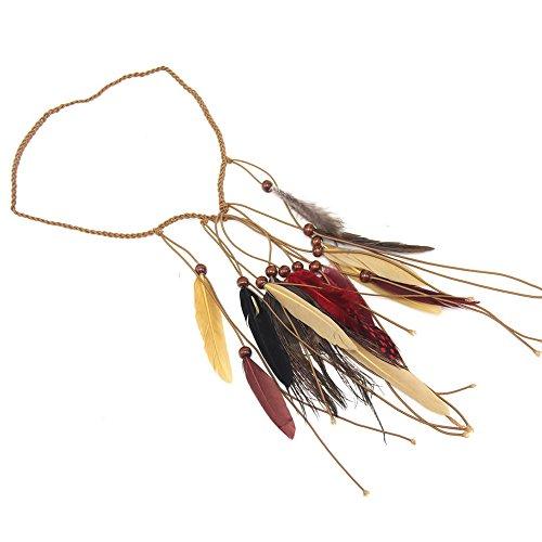 Berrose-indisch Stil Weberei Feder Stirnband Kopfbedeckungen Feder Stirnband Kopfbedeckung Haarband Flapper Stirnband Kostüm Zubehör Kopfschmuck -