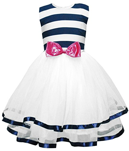 Little Sorrel Little Girls Dresses Sleeveless Stripes Tulle Tutu Party Dress Age 6 - 7 Y