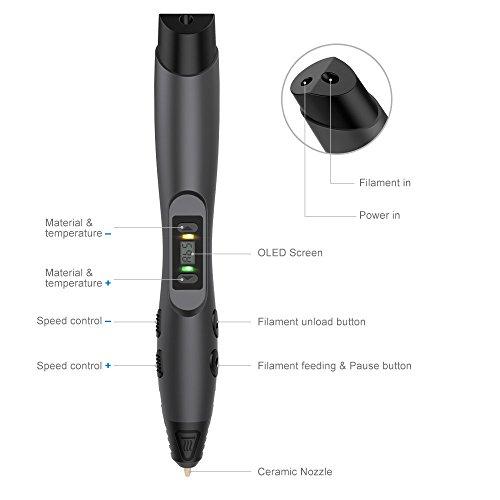 3D Stift, Aerb 3D Pen Stift mit 1,75mm PLA/ABS Filament, 8 Einstellbare Geschwindigkeit mit LCD-Bildschirm 3D Printing Pen für Kinder Erwachsene, Bestes Geschenk für DIY, Kritzelei, Zeichnung und Kunst & Handgefertigte Werke - 2