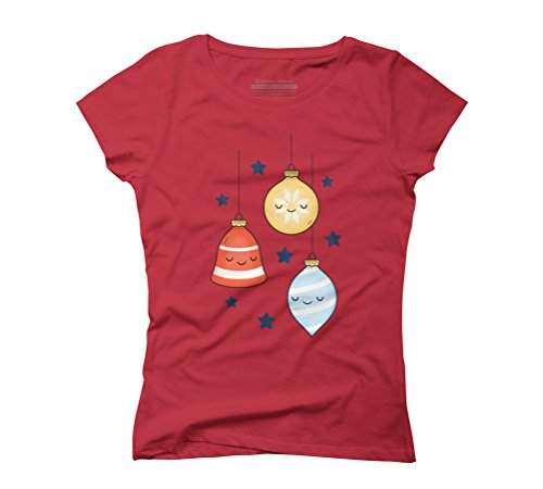 Merry Jolly Baubles & Bells Women's Graphic T-Shirt - Design By Humans Red