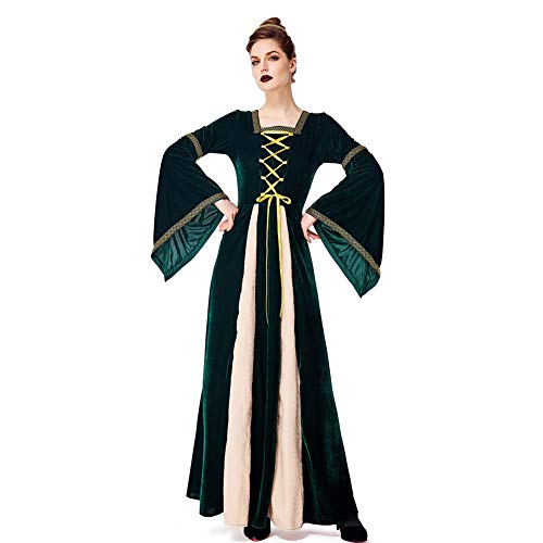 Kostüm Für Erwachsene Renaissance Lady - PAOFU-Womens Retro Renaissance Mittelalterlichen Aristokratischen Gericht Kostüm mit Langen Ärmeln Abendkleid,Grün,XL