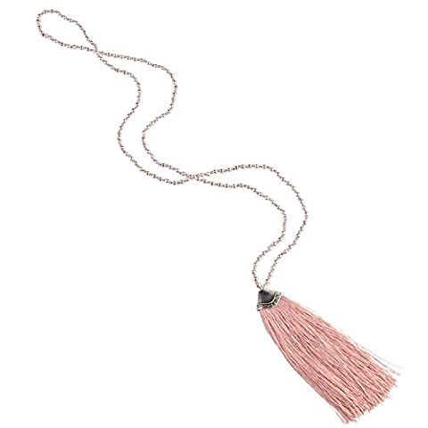 KELITCH Silver Plated Beaded Chain Long Necklace with Tassel Pendant