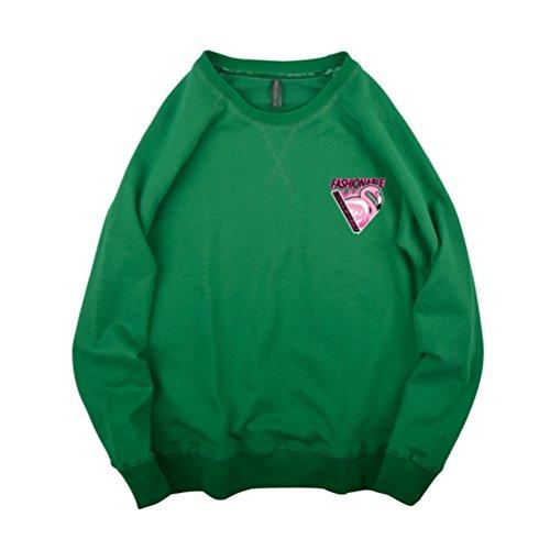 Yiiquan Unisex Lungo Manica Semplice Sciolto Camicetta Rotondo Collo Stampa Amanti Felpa Pullover Tops Verde