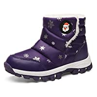 KVbabby Girls Snow Boots Winter Warm Snowproof Outdoor Non-Slip High Top Booties Fur Lined Ankle Walking Hiking Shoe Purple