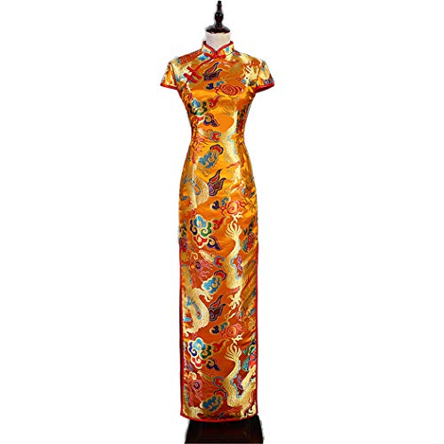 ZDSYYK Chinese Cheongsam Evening Dress Female New Fishtail Skirt Long Section Company Annual Meeting Cocktail Dress Female Slim Costume (S) -