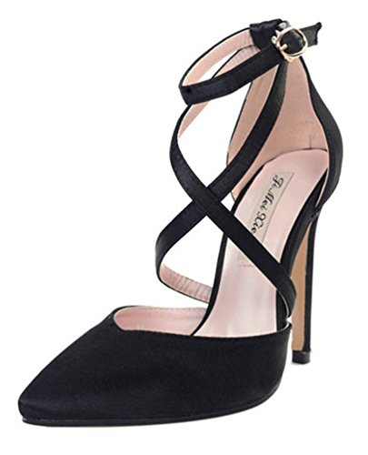 SHOWHOW Damen Sexy Spitz Zehe Cut Out Gekeuzt Band Sandale Pumps mit Schnalle Schwarz 38 EU (Satin Top Heel Stiletto)