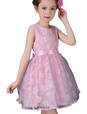 WanYang Vestido Floral Del Cordón Del Cuello Del Tutú Vestidos De Ropa Muchacha De Partido De La Princesa Vestido...