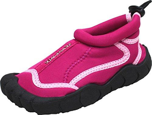 Kinder Strandschuhe | Badeschuhe | Surfschuhe aus Neopren für Mädchen oder Jungen | Rutschfeste Gummisohle | Fuchsia | Größe 26 (Herren Wasser Boot Schuhe)