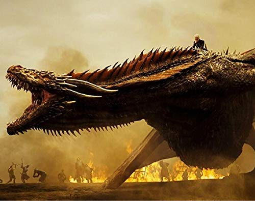 JIAER DIY Ölgemälde Durch Zahlen Wandkunst Acryl Handgemalte Malerei Game of Thrones Drachen Home Wohnzimmer Dekor(Mit Rahmen) 40x50cm