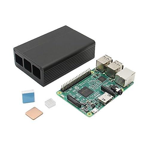 Bluelover 3 In 1 Raspberry Pi 3 Model B Board + Black Aluminum Alloy Case + Aluminum Copper Heat Sink