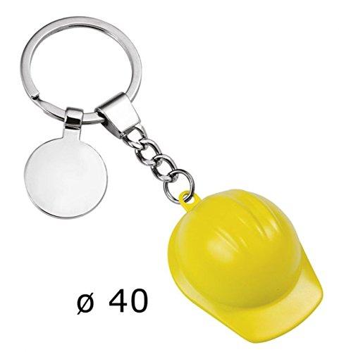 Keychain gelber Helm - art. EL7071 - Lan. 11,5 cm - Bre. 4 cm - Hoh. 2 cm - Ten by Varotto & Co. (Keychain Helm)