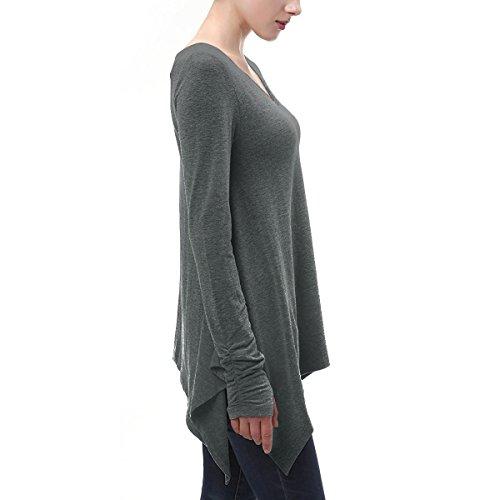 Damen Langarmshirt Asymmetrisch T-Shirt - Das beste Casual Stretch Langarm Bluse daumen - loch sidetail Oberteile Tunika Shirts Tops V-Ausschnitt Falten T-Shirt Für Herbst & Frühling (Size S-XL) Tief grau
