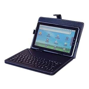 """SODIAL(Wz.) Neu 10"""" / 10.2"""" Zoll Schwarz Leder-Look-Case + USB Tatatur mit kostenlosem Eingabe Stift und Staender Fuer Schutz von 10"""" oder 10.2"""" Tablet PC ePad aPad Geraet"""