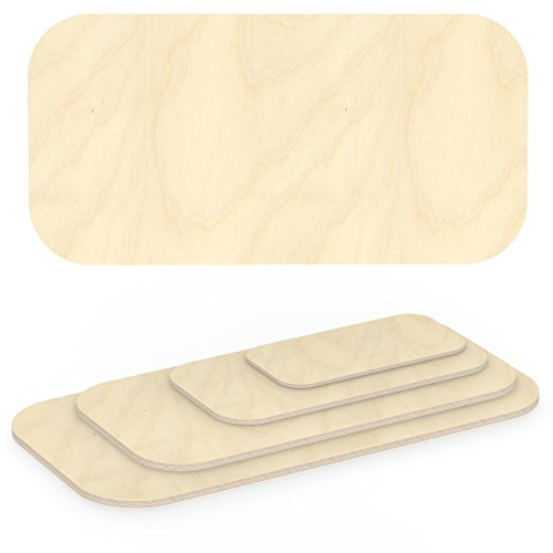 AUPROTEC Multiplexplatte 30mm rechteckig 1800 mm x 900 mm Holzplatten von 40cm-200cm auswählbar Ecken Radius 100mm Sperrholz-Platten Birke Massiv Multiplex Holz Industriequalität z.B. als Tisch-Platte