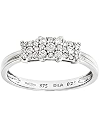 Naava Women's 9 ct White Gold Diamond Cluster Ring