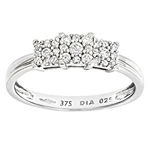 Naava Women's 9 ct White Gold Diamond Cluster Ring - Size: H