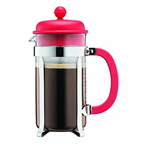 Bodum CAFFETTIERA Kaffeebereiter (French Press System, Permanent Edelstahlfilter, 0,35 liters) rot