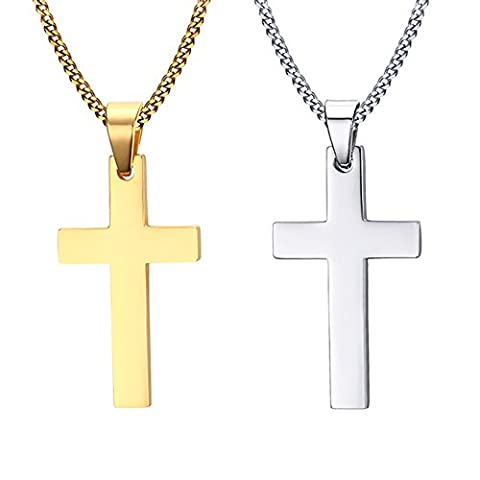 Vnox 2Pcs Men's Stainless Steel Simple Plain Cross Pendant Necklace with Free Chain,Silver Gold,Pack of 2