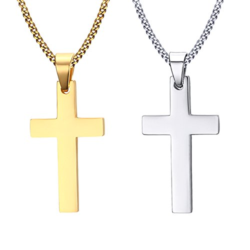 Vnox 2 Stück Männer Edelstahl Einzel Plain Kreuz Anhänger Halskette mit freier Kette,Silber Gold,2er Pack - Halskette Silber Kreuz Anhänger