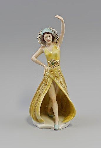 Porcellana statuetta Ballerina Art Déco blu