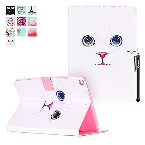 iPad Air Case, iPad 5 Cover, DEENOR White cat face Pattern PU Leather Cover Stand Flip Case Cover for Apple iPad Air iPad 5 Generation. (White cat face)