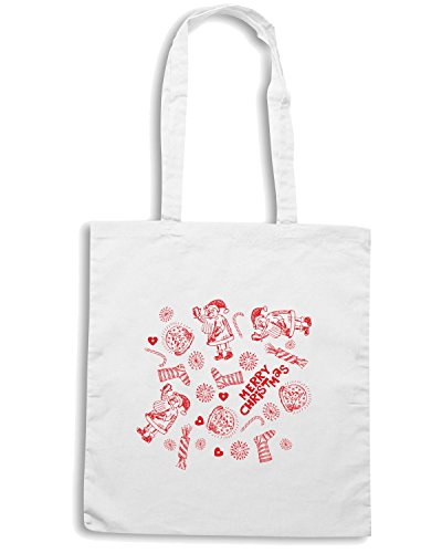 T-Shirtshock - Borsa Shopping T0389 merry christmas festivita Bianco