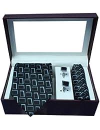 Riyasat - Geometrical Design Black Color Micro Fibre Men,s Tie, Cufflink and Pocket Square Gift Set .(S_ 125)