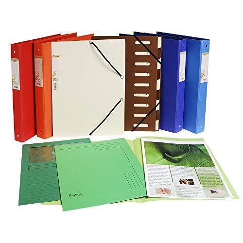 Exacompta 52980E Ordnungsmappe (Recycling-PP, Forever, Gummizug, dehnbarer Harmonika-Rücken, 9 Fächer) 1 Stück zufällige farbe