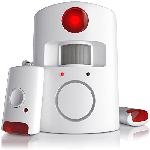 CSL - Alarmanlage mit Bewegungsmelder | Infrarot Funk-Alarmsystem | Alarmmelder | PIR-Sensoralarm | Hausalarm | 100dB | inkl. 2x Fernbedienungen und Wandhalterung | weiß