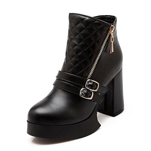 AgooLar Damen Blend-Materialien Schnüren Hoher Absatz Niedrig-Spitze Stiefel, Schwarz, 39