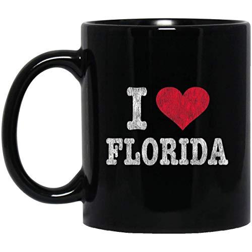 Distressed Retro I Love Florida Souvenir Gift 11 oz. Black Mug Florida-retro-sweatshirt