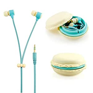 Beige 3.5mm In Ear Earphones Earbuds Headset with Macaron Case For Huawei Ascend P1s